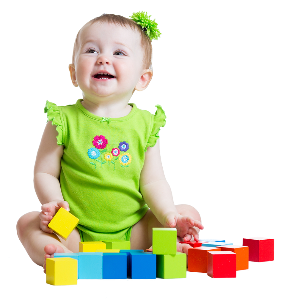 happy baby girl with play blocks