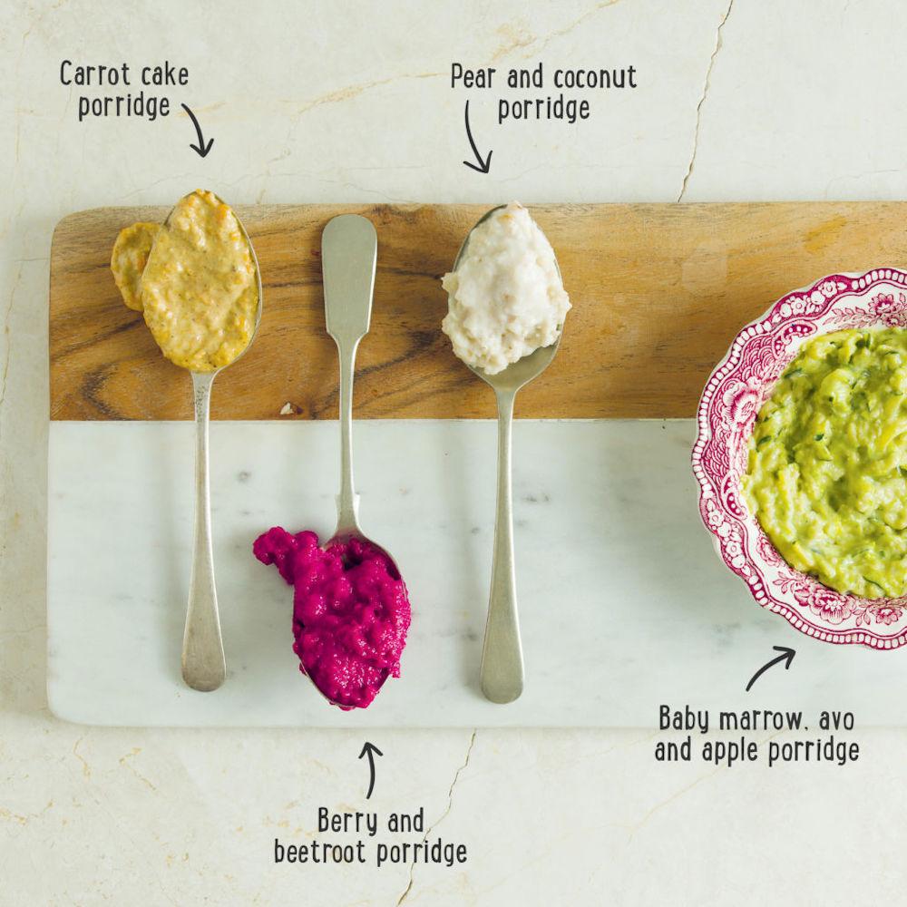 3 pureed food mixes on teaspoons