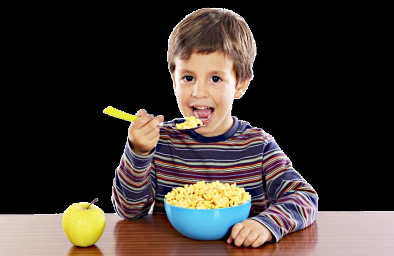 pre-schooler eating cereal