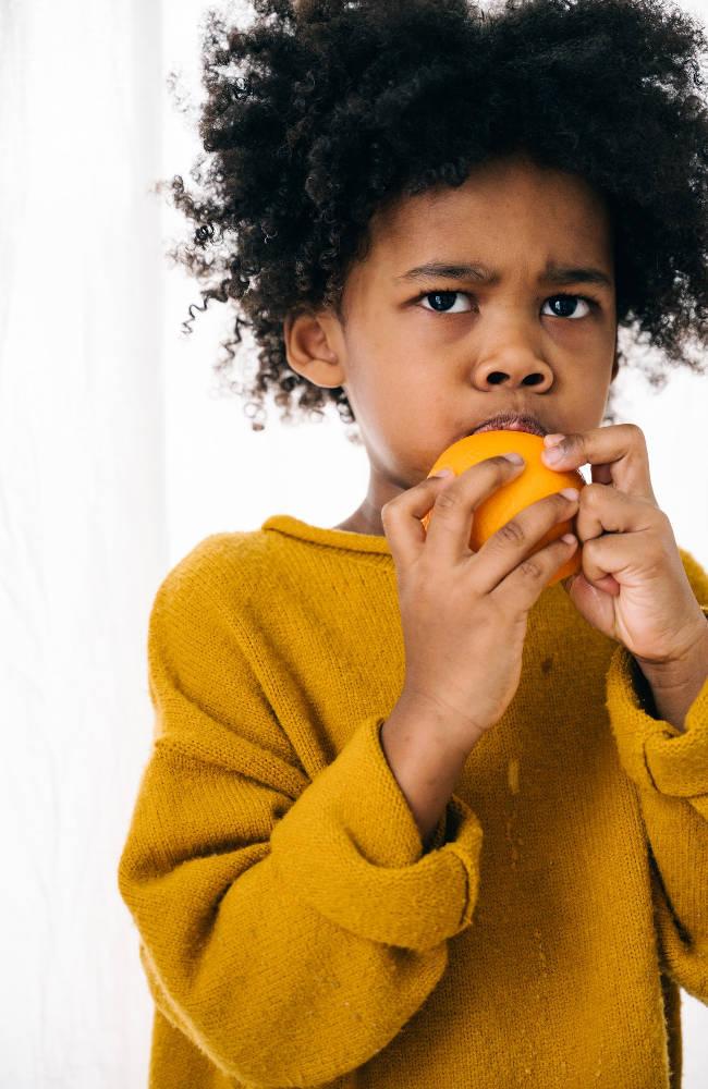eating an orange